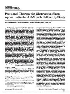 Positional Therapy for Obstructive Sleep Apnea Patients: A 6-Month Follow-Up Study
