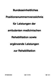 Positionsnummernverzeichnis. ambulanten medizinischen