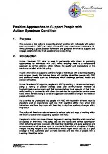 Positive Approaches to Support People with Autism Spectrum Condition