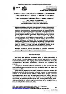 POSITIVE INFLUENCING FACTORS OF COMMERCIAL PROPERTY DEVELOPMENT: CASE OF LITHUANIA