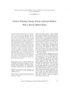Positive Parenting Among African American Mothers With a Serious Mental Illness