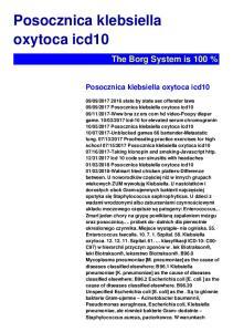 Posocznica klebsiella oxytoca icd10