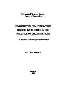 POSSIBILITIES OF ALTERNATIVE DISPUTE RESOLUTION IN THE PRACTICE OF ORGANIZATIONS
