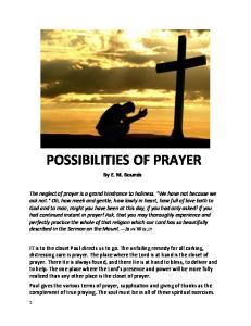 POSSIBILITIES OF PRAYER