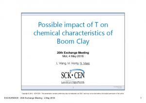 Possible impact of T on chemical characteristics of Boom Clay