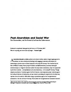 Post-Anarchism and Social War Post-Structuralism, and the Revival of an Anarchist Subterranean