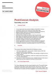 Post-Cancun Analysis 1. Policy Briefing Jan 17, I. Summary Points. The Cancun Agreements