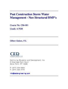 Post Construction Storm Water Management - Non Structural BMP s