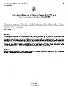 Post-consumer Plastic Solid Waste By Recycling And Recovery Process Georgina Clay