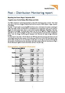 Post Distribution Monitoring report