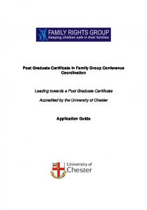 Post Graduate Certificate in Family Group Conference Coordination. Leading towards a Post Graduate Certificate