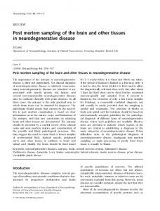 Post mortem sampling of the brain and other tissues in neurodegenerative disease