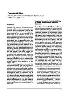 Postcolonial Cities. Origins of Interest in Postcolonial Cities in Human Geography and the Social Sciences. Definitions