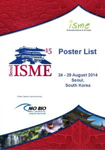 Poster List August 2014 Seoul, South Korea. Poster Session sponsored by: POWER OF THE SMALL