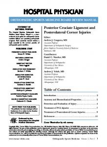 Posterior Cruciate Ligament and Posterolateral Corner Injuries