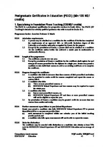 Postgraduate Certificates in Education (PGCE) (Min 120 NQF credits)