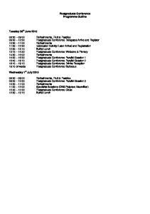 Postgraduate Conference Programme Outline