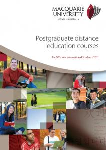 Postgraduate distance education courses. for Offshore International Students 2011