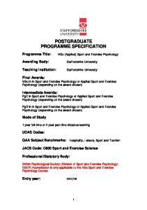 POSTGRADUATE PROGRAMME SPECIFICATION
