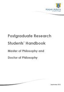 Postgraduate Research Students Handbook