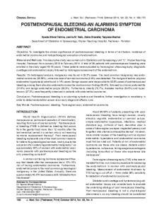 POSTMENOPAUSAL BLEEDING-AN ALARMING SYMPTOM OF ENDOMETRIAL CARCINOMA