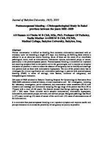 Postmenopausal bleeding : Clinicopathological Study In Babel province between the years