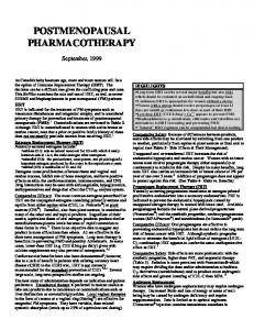 POSTMENOPAUSAL PHARMACOTHERAPY