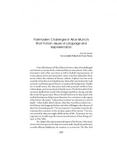 Postmodern Challenges In Alice Munro s Short Fiction: Issues of Language and Representation