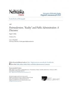 Postmodernism, Reality and Public Administration: A Discourse