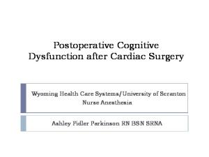 Postoperative Cognitive Dysfunction after Cardiac Surgery
