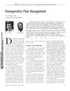 Postoperative Pain Management