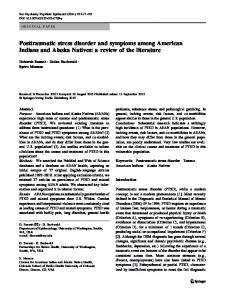 Posttraumatic stress disorder and symptoms among American Indians and Alaska Natives: a review of the literature