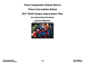 Poteet Independent School District Poteet Intermediate School Campus Improvement Plan