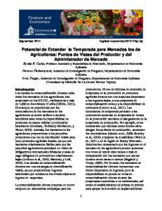 Potencial de Extender la Temporada para Mercados los de Agricultores: Puntos de Vistas del Productor y del Administrador de Mercado