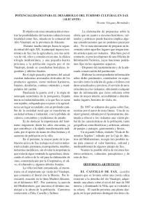 POTENCIALIDADES PARA EL DESARROLLO DEL TURISMO CULTURAL EN SAX (ALICANTE)