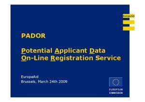 Potential Applicant Data On-Line Registration Service