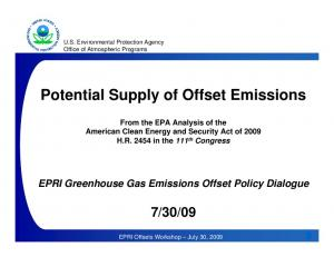 Potential Supply of Offset Emissions