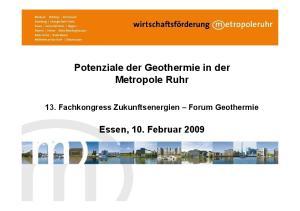 Potenziale der Geothermie in der Metropole Ruhr