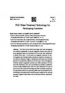 POU Water Treatment Technology for Developing Countries