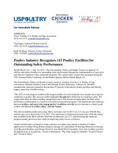 Poultry Industry Recognizes 115 Poultry Facilities for Outstanding Safety Performance