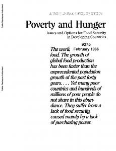 Poverty and Hunger. food. Theg'rowthlof global food production