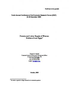 Poverty and Labor Supply of Women: Evidence from Egypt 1