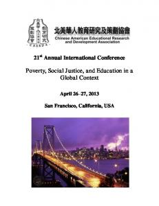Poverty, Social Justice, and Education in a Global Context
