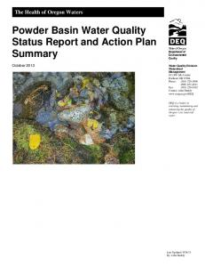Powder Basin Water Quality Status Report and Action Plan Summary