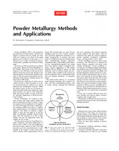 Powder Metallurgy Methods and Applications