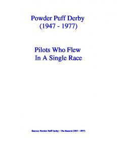 Powder Puff Derby ( ) Pilots Who Flew In A Single Race. Source: Powder Puff Derby - The Record ( )