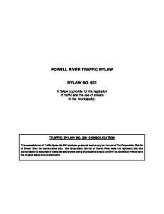 POWELL RIVER TRAFFIC BYLAW BYLAW NO. 931