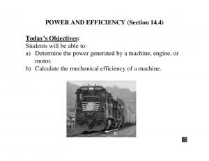 POWER AND EFFICIENCY (Section 14.4)