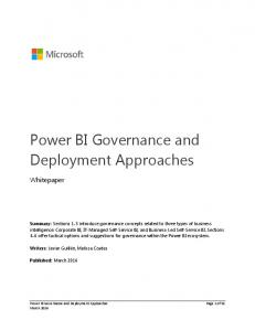 Power BI Governance and Deployment Approaches