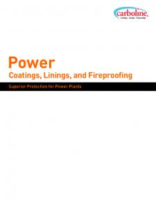 Power. Coatings, Linings, and Fireproofing. Superior Protection for Power Plants